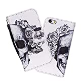 iPhone 5C Case,iPhone 5C Wallet Case,5C Case, WIITOP PU Leather Flip Wallet Case for iPhone 5C + Free Stylus(Skull)