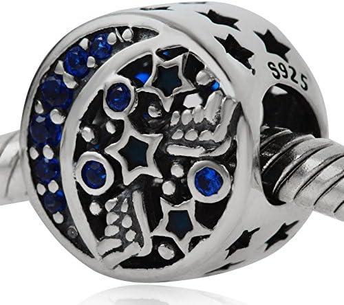 Breloque ajour/é en argent sterling 925 avec motif de lune et d/étoile et cristaux incrust/és ciel nocturne romantique