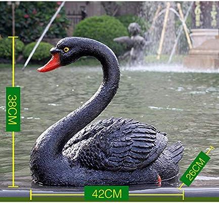 zenggp Estanque Adorno De Jardín Simulación Cisne Negro Cisne Negro Jardín Exterior Decoración De Fuente Escultura Animal,H: Amazon.es: Hogar