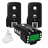 Pixel King Pro Flash Trigger Kit 1 Transceiver TTL HSS LCD Screen with PC Port +2 Receivers for Sony Mi Shoe DSLR Cameras A7 A7R A7RII A6300 A6500 A65 A77II RX10III