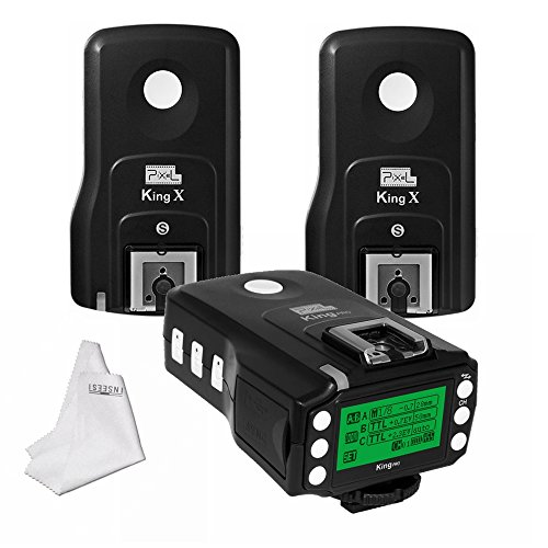 Pixel King Pro Flash Trigger Kit 1 Transceiver TTL HSS LCD Screen with PC Port +2 Receivers for Sony Mi Shoe DSLR Cameras A7 A7R A7RII A6300 A6500 A65 A77II RX10III by Pixel