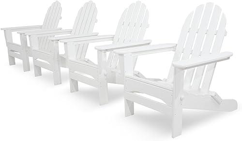Ivy Terrace IVS104-1-WH Classics 4-Piece Folding Adirondack Conversation Set, White