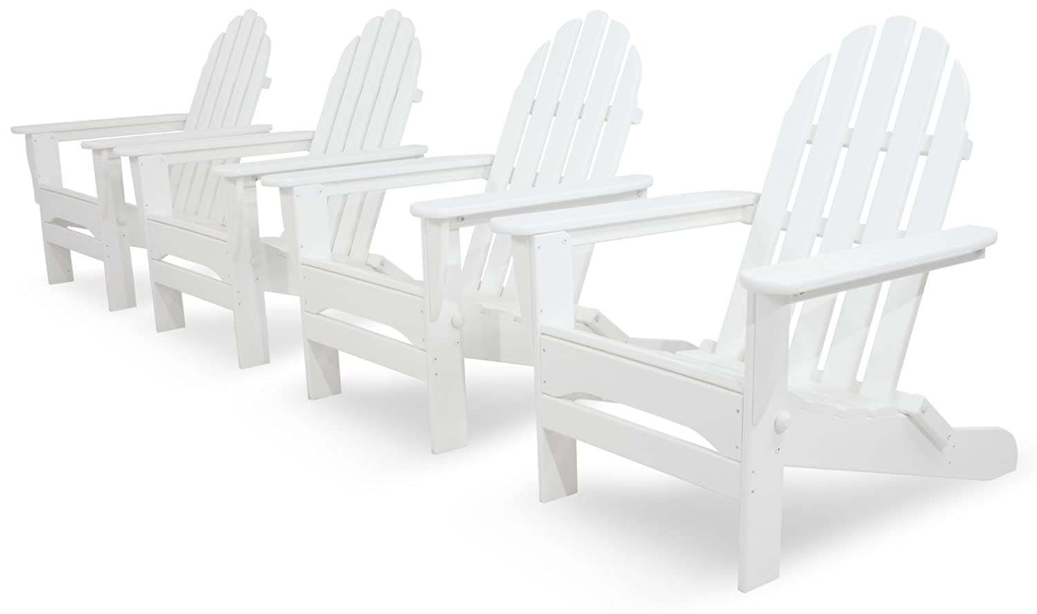 Ivy Terrace IVS104-1-WH Classics 4-Piece Folding Adirondack Conversation Set, White