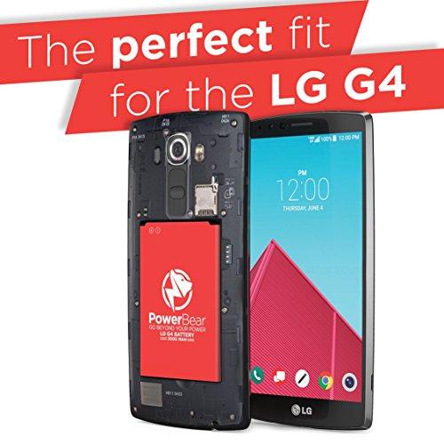 PowerBear LG G4 Battery   3000mAh Li-Ion Battery for the G4 [US991, H812, H815, AT&T H810, T-Mobile H811, Sprint LS991, Verizon VS986]   LGG4 Spare Battery [24 Month Warranty] by PowerBear (Image #2)