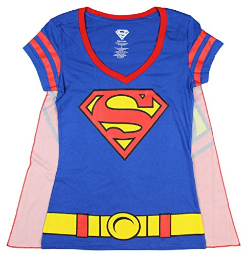 Junior's DC Comics Superman Costume Licensed Graphic T-Shirt w/ Cape - Large (Superman T Shirt With Cape)