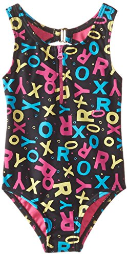 Roxy Little Girls' Pop Logo Zip One Piece, True Black, 6X
