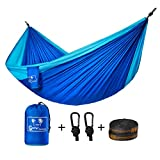 Image of Camping Hammock, Coofel Portable Double Hammock Nylon Parachute Hammock for Travel Camping with Hammock Straps And Solid Steel Carabiners(Blue & Sky blue)