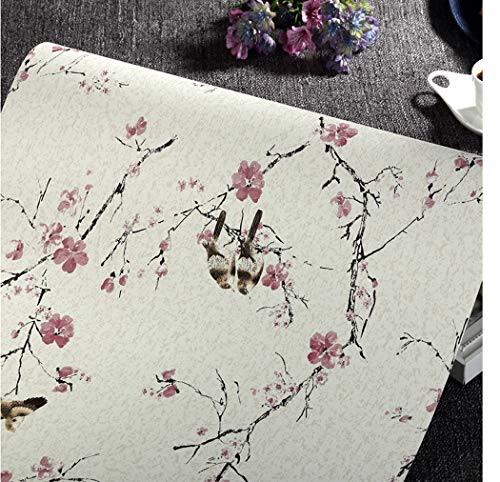 Peel and Stick Bird Wallpaper Self Adhesive Rustic Floral Contact Paper Wall Mural Prepasted Wallpaper Rolls for Bedroom Kitchen Bathroom 24 x 196 Inches (Magpie Bird) ()