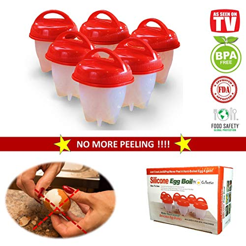 Non-stick Silicone Egg Cooker set, Hard Boiled Eggs without the Shell AS SEEN ON TV (6 PACK set), FY Collection