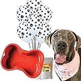 Doggy Party Supplies & Dog Birthday Cake   Reusable Silicone Bone Cake Pan   100% Natural Dog Birthday Cake Mix   6 Paw Print Balloons and Pink Birthday Bandana
