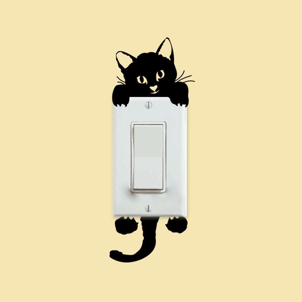 Amazon.com: Cat Wall Stickers Light Switch Decor Decals Art Mural ...