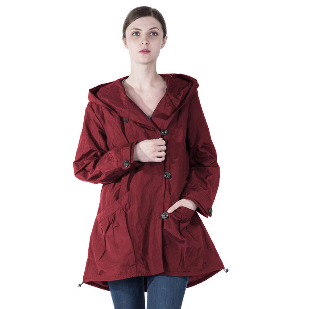 Infron IN FRONT Women Plus Size Elegant Hooded Single-Breasted Anorak Coat Spring/Fall Lightweight Windbreaker 028+029