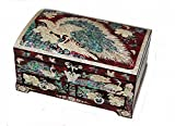Mother of Pearl Asian Lacquer Wooden Red Peacock Bird Jewelry Case Trinket Keepsake Treasure Gift Box Organizer (RED)