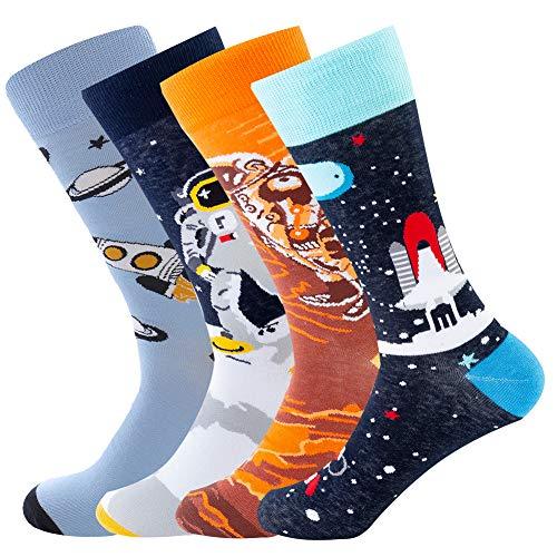 Bonangel Men's Fun Dress Socks-Colorful Funny Novelty Crew Socks Pack,Art Socks -