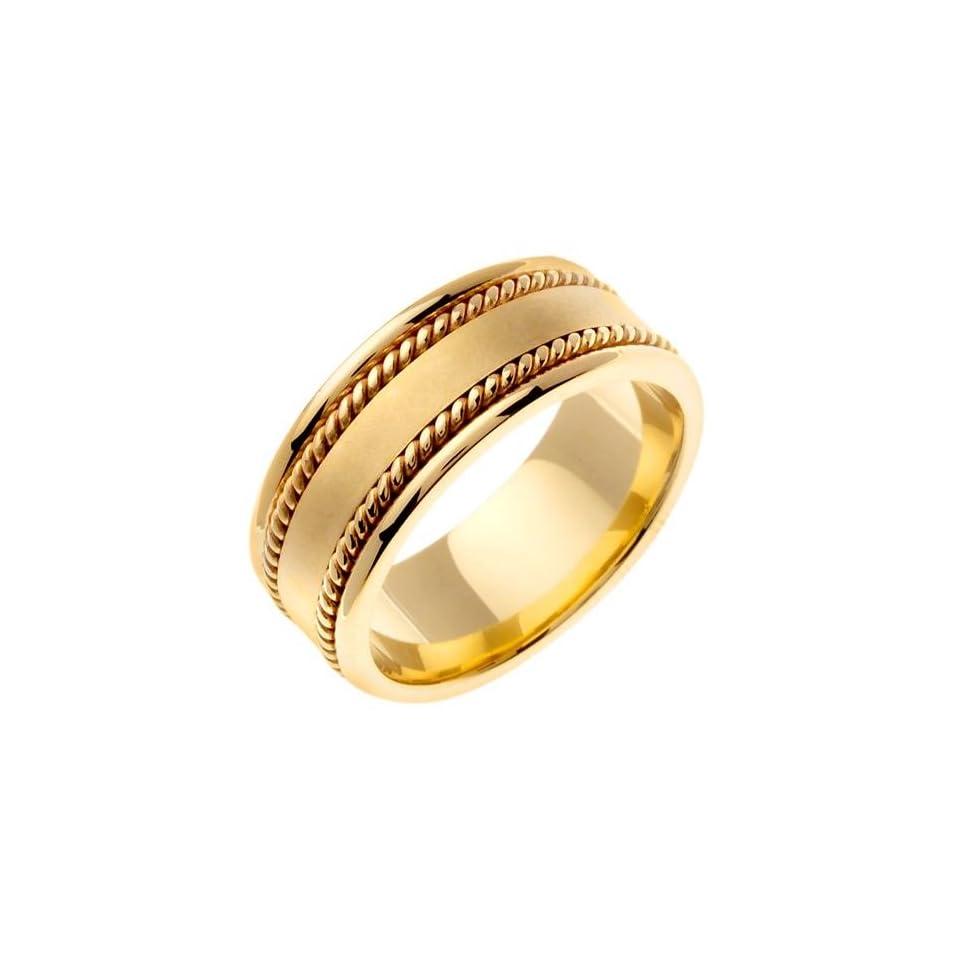 14K Gold Wide Handmade Yellow Wedding Ring (8mm) Jewelry