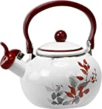 Corelle Coordinates by Reston Lloyd Harmonic Hum Alert Whistling Teakettle with Fold Down Handle, 2-Quart, Kyoto Leaves