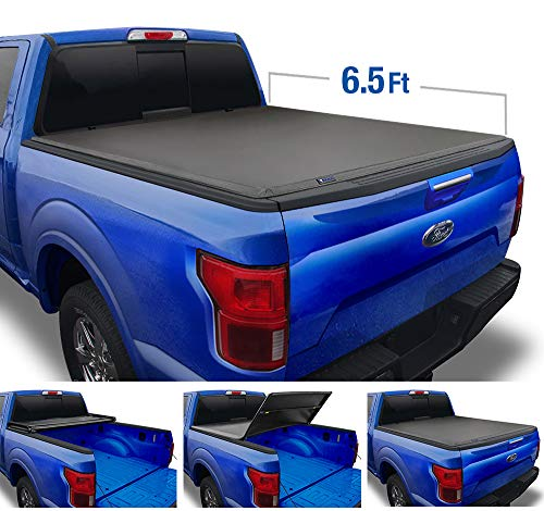 Tyger Auto (Soft Top T3 Tri-Fold Truck Tonneau Cover TG-BC3F1042 Works with 2015-2019 Ford F-150 | Styleside 6.5' Bed