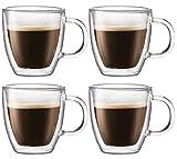 Double-wall Insulated 12-ounce Glass Mugs with Coasters - Coffee Mugs (Set of 4)