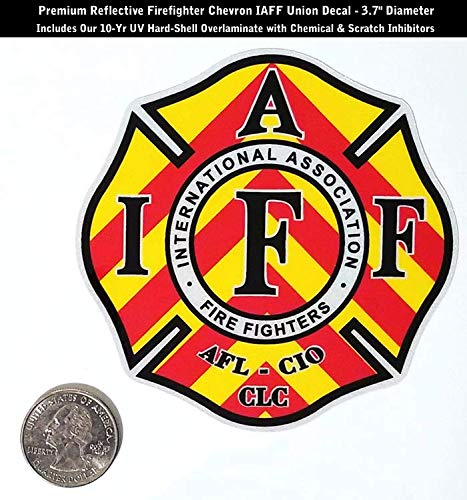 - High Performance Vinyl Graphics LLC Reflective IAFF Firefighter Chevron Decal Yellow Red Blk Wht Laminated 0369