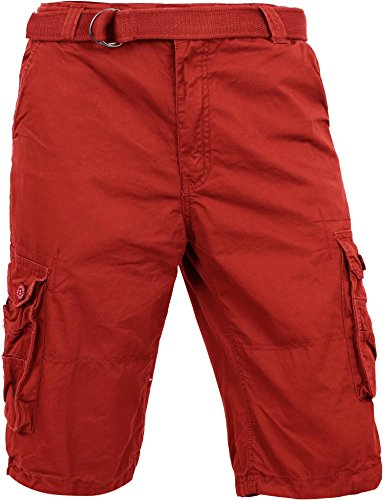 MP Mens Premium Cargo Shorts With Belt Outdoor Twill Cotton Loose Fit Multi Pocket Pants (32, Red) ()
