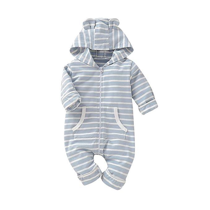 Summer Infant Kids Baby Boys Pocket Blue Striped Jumpsuit Romper Outfit Clothes