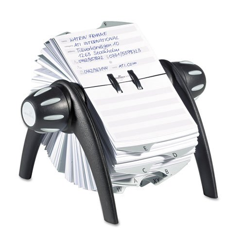 (Durable® TELINDEX Rotary Address Card File Holds 500 4 1/8 x 2 7/8 Cards, Graphite/Black)