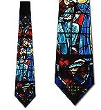 Stained Glass Jesus Mural Tie - Men's Christmas Necktie