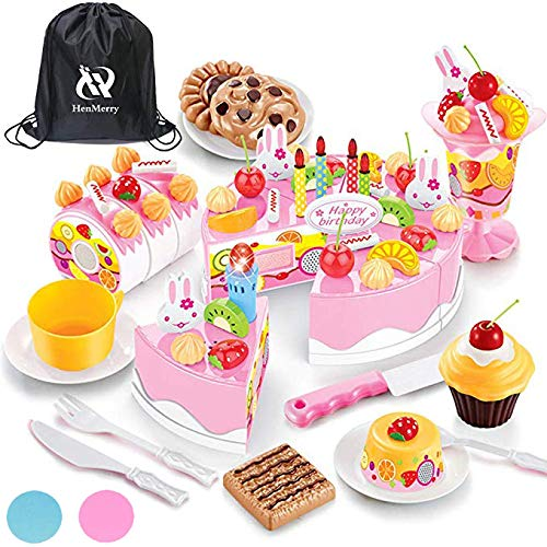 (HenMerry Birthday Cake Toy, Play Birthday Party Cake Toy Set DIY Kitchen Food Early Education Gift Toys for Girls and Boys Kids or Toddlers(76pcs-Pink with Light))
