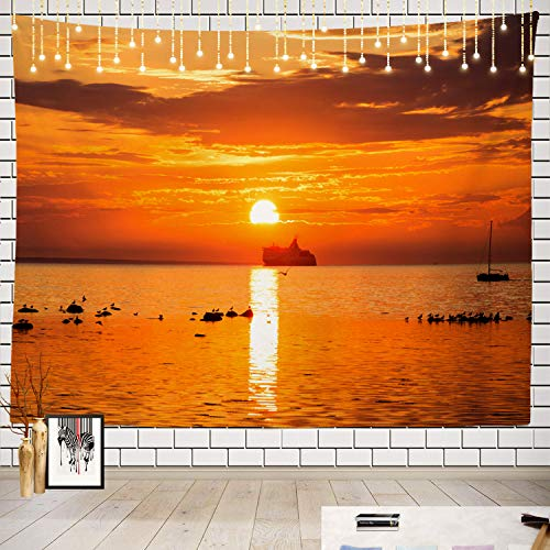Batmerry Ship Tapestry, Ship Sunset Sea Navy Bird Boat Bridge Cabin Picnic Mat Beach Towel Wall Art Decoration for Bedroom Living Room Dorm, 51.2 x 59.1 Inches, Red
