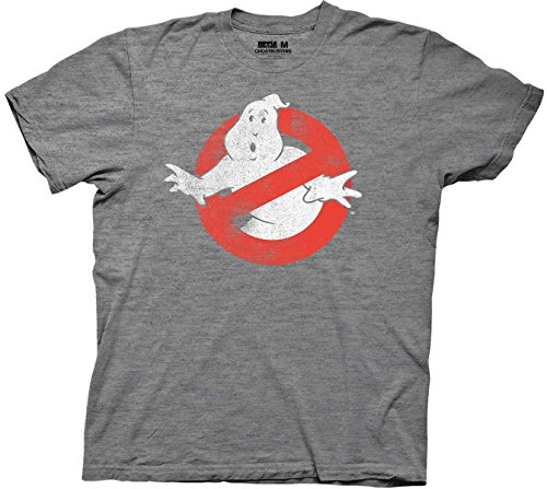 Ripple Junction Ghostbusters Distressed Logo Adult T-Shirt - Heather Platinum (Large)