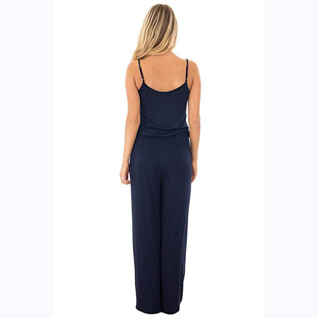 HCFKJ Combinaison Femme Ete,Femelles Salopette sans Manches Dames Casual Ample Combishort Long Pantalon