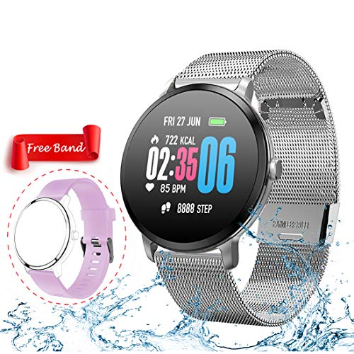 Smart Watch,Fitness Tracker with Heart Rate & Blood Pressure Monitor for Android & iOS, Waterproof Activity Tracker Watch with Sleep & Blood Oxygen Monitor, Calorie Counter & Pedometer for Women Men