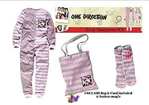 Una dirección 1D Onesie Set * Chicas 6-7 años/cariotipo pijamada incluye 1D Onesie con bolsa y antideslizante calcetines