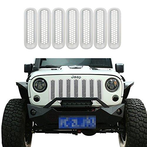 [Upgrade Clip in Version] Opar 2007-2015 Jeep Wrangler JK Shiny White Front Mesh Grille Insert for Jeep JK & Wrangler Unlimited (Pack of 7)