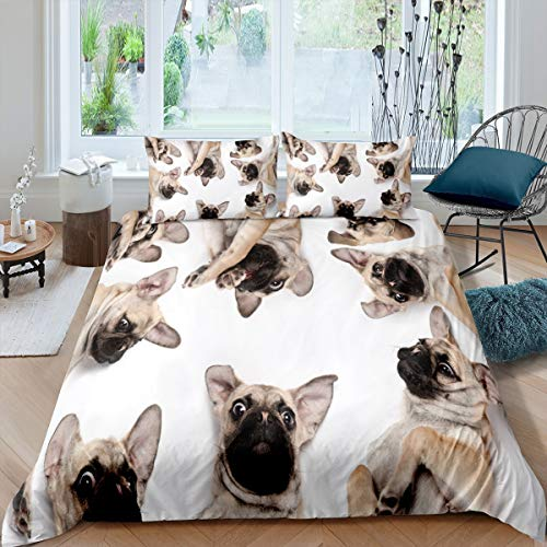 3D Dog Printed Bedding Set Cute Pug Dog Comforter Cover for Kids Boys Girls Teens Pet Dog Pattern Animal Theme Luxury Microfiber Duvet Cover Decor 3Pcs Bedclothes Full Size White