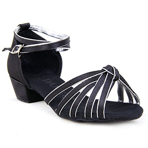 Girls Satin Striped Knot Latin Ballroom Dance Shoes Two-tone Soft Suede Sole Dancing Sandals(2, Black/silver) by staychicfashion (Image #6)