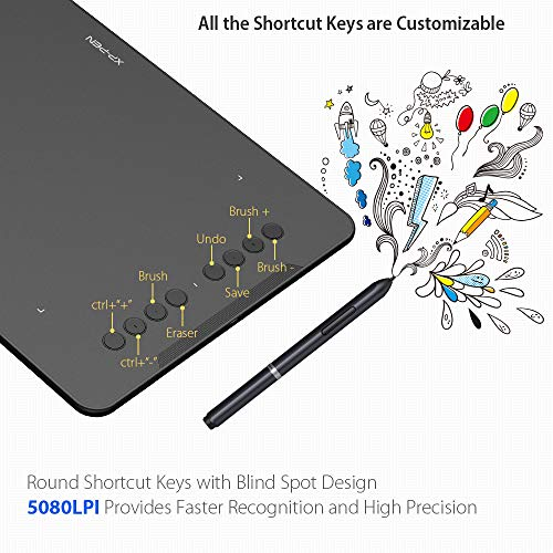 XP-PEN Deco 01 10x6.25 Inch Digital Graphics Drawing Tablet Drawing Pen Tablet with Battery-Free Passive Stylus and 8 Shortcut Keys (8192 Levels Pressure)