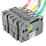 LaBold 6-Pack Label Tape Combo Set Compatible For Brother P-touch Series TZe131 TZe231 TZe431 TZe531 TZe631 TZe731 12mm x 8m, 1/2in x 26.2ft