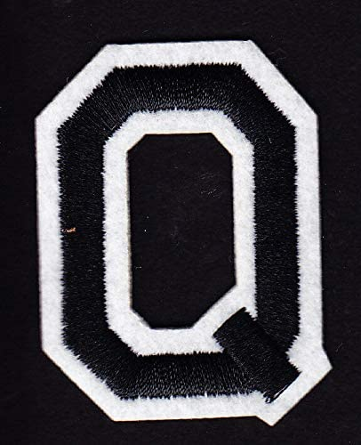 "2/"" Black /& White Letter  /""Q/"" LETTERS Iron On Embroidered  Applique"