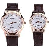 Hemobllo 2pcs reloj de pareja de cuero reloj de pulsera de cuarzo de cristal decorativo regalo para amantes