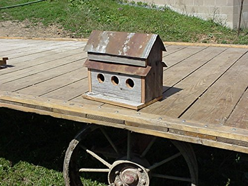 (Amish Handmade Home and Garden Collectible Primitive Rustic Country Decor Old Barn Wood Siding and Tin Roof 3-hole Birdhouse, Base Measures 13 1/2