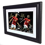 Signed Black Soccer ZLATAN IBRAHIMOVIC PAUL POGBA Manchester United Autographed Photo Photograph Picture Frame Gift SM