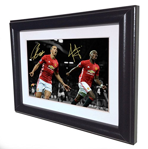 Signed Black Soccer ZLATAN IBRAHIMOVIC PAUL POGBA Manchester United Autographed Photo Photograph Picture Frame Gift SM by kicks