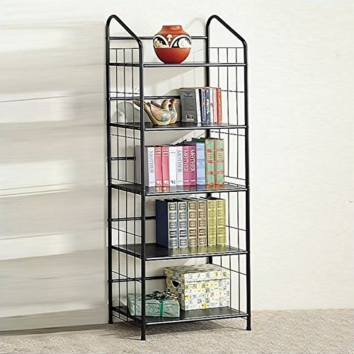 Coaster Five Tier Black Metal Bookcase (Coaster Black Metal)