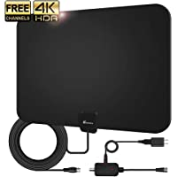 Amplified HD TV Antenna, 2020 Upgraded Digital Indoor HDTV Antenna Up to 120 Mile Range, 4K HD VHF UHF Freeview Television Local Channels Detachable Signal Amplifier and 16.5ft Longer Coax Cable