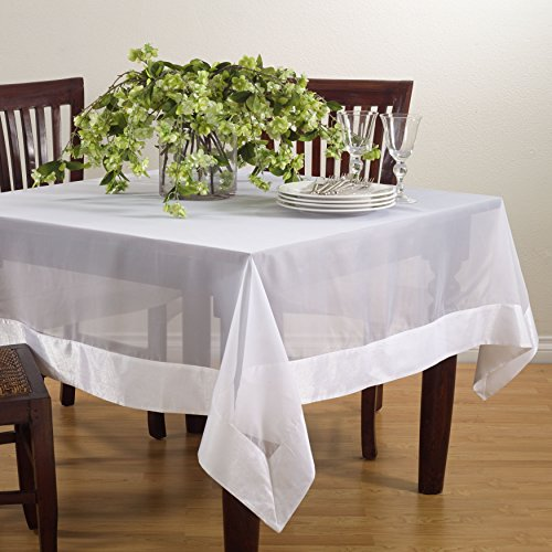 (SARO LIFESTYLE JH002.W84S Sheer Square Tablecloth with Satin Border, 84
