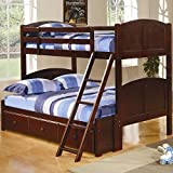 Coaster 460212 Parker Twin Over Full Panel Bunk Loft Bed Dark Cherry
