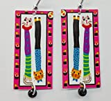Cat Lover Gifts, Cat Earrings, Sushi, Sterling Silver Ear Wires, From Original Art,Fun Abstract Design, Free Shipping