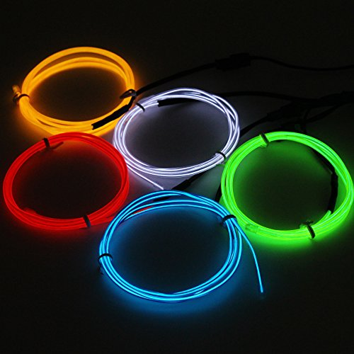 Cefrank 5 X 3.3ft (1m) Neon Light El Wire - MultiColors ( Blue, Red, Yellow, Green, White ) Bright Electroluminescent Tape LED Light Up for Xmas Halloween Costume (Light Up Wire)