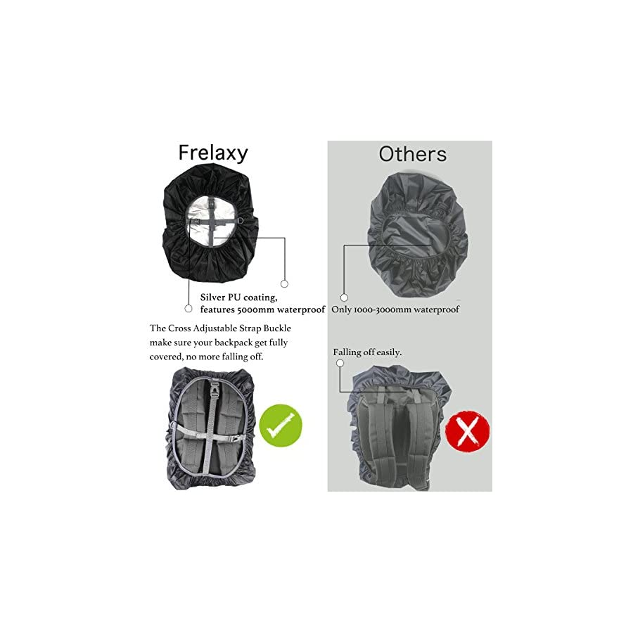 Frelaxy Waterproof Backpack Rain Cover (15 90L), Upgraded Non Slip Cross Buckle Strap & Rainproof Storage Pouch & Silver Coated, Perfect for Hiking, Camping